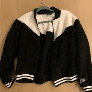 Nike black and white fuzzy bomber jacket